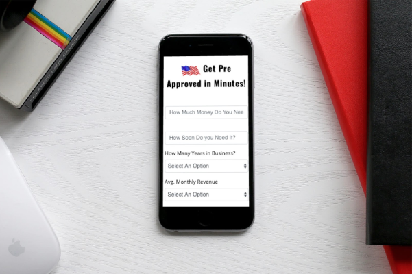Image of mobile phone with form to apply online for small business working capital loan
